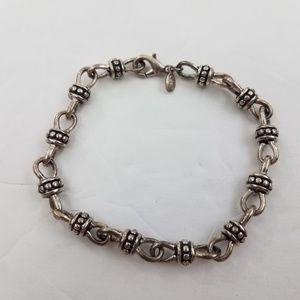 Premier Designs Bracelet Silver Tone Knot Dot Blac